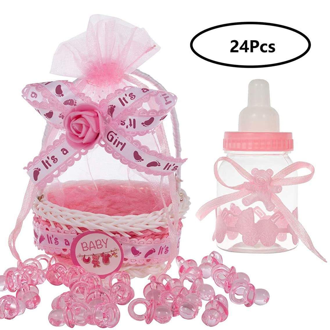 QILICHZ 24pcs Baby Shower Gift Bag Organza Baby Girl Candy Bags Baby Shower Bottles Baby Candy Bottle Gift Boxes Candy Favor Boxes for Baby Girl Shower and Wedding Party Decor