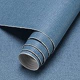 KINLO Verdickte Tapete Selbstklebend Wandtapete 60 * 500CM Blau (8 Typen - 21 Farben) Wandaufkleber wasserfest Tapeten Klebefolie Möbelaufkleber für Wohnzimmer und Schrank
