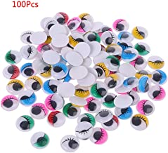 Huilier 100pcs Mixed Color Self Adhesive Eyes with Eyelashes for Doll Bear Stuffed Toy DIY Craft 6mm/7mm/8mm/10mm/12mm/15mm/18mm/20mm