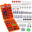 TOPFORT 230PCS Fishing Accessories Kit, Including Jig Hooks, Bullet Bass Casting Sinker Weights, Different Fishing Swivels Snaps, Sinker Slides, Fishing Line Beads, Fishing Set with Tackle Box…