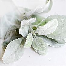نباتات صناعية مجففة من الحرير الاصطناعي على شكل أذن أرنب نبات أوراق الخريف ديكور المنزل عيد الميلاد (اللون: أخضر)