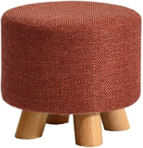 DSWJD Modern Simplicity Round Fashion Solid Wood Bench Legs Durable Non-Slip Mat Living Room-Footstool Sofa Stool Wooden Bench Seat 0JD01
