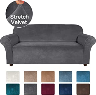 Turquoize Velvet Sofa Slipcover Stretch Couch Covers for 3 Cushion Couch Thick Soft Sofa Cover with Non Slip Straps Furniture Protector, Couch Covers for Dogs, Form Fit Couch Slipcover (Large, Gray)