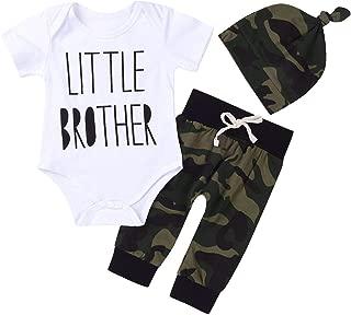 Cute 3pcs Newborn Baby Boys' Letter Print Romper+Camouflage Pants+Hat Outfits Set