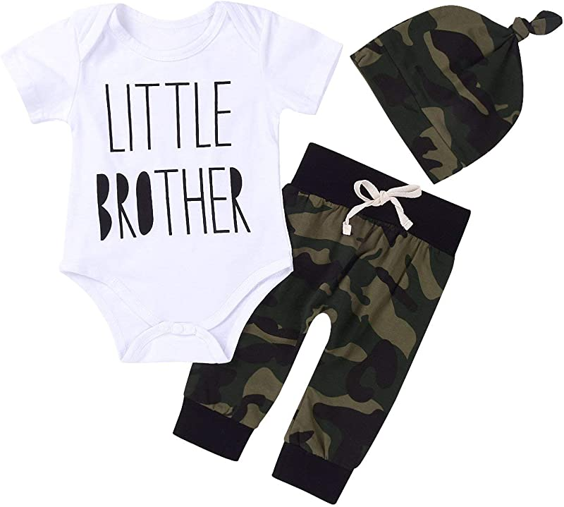 Cute 3pcs Newborn Baby Boys Letter Print Romper Camouflage Pants Hat Outfits Set