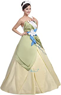 Womens Floral Fairy Costume Halloween Cosplay Long Dress Green