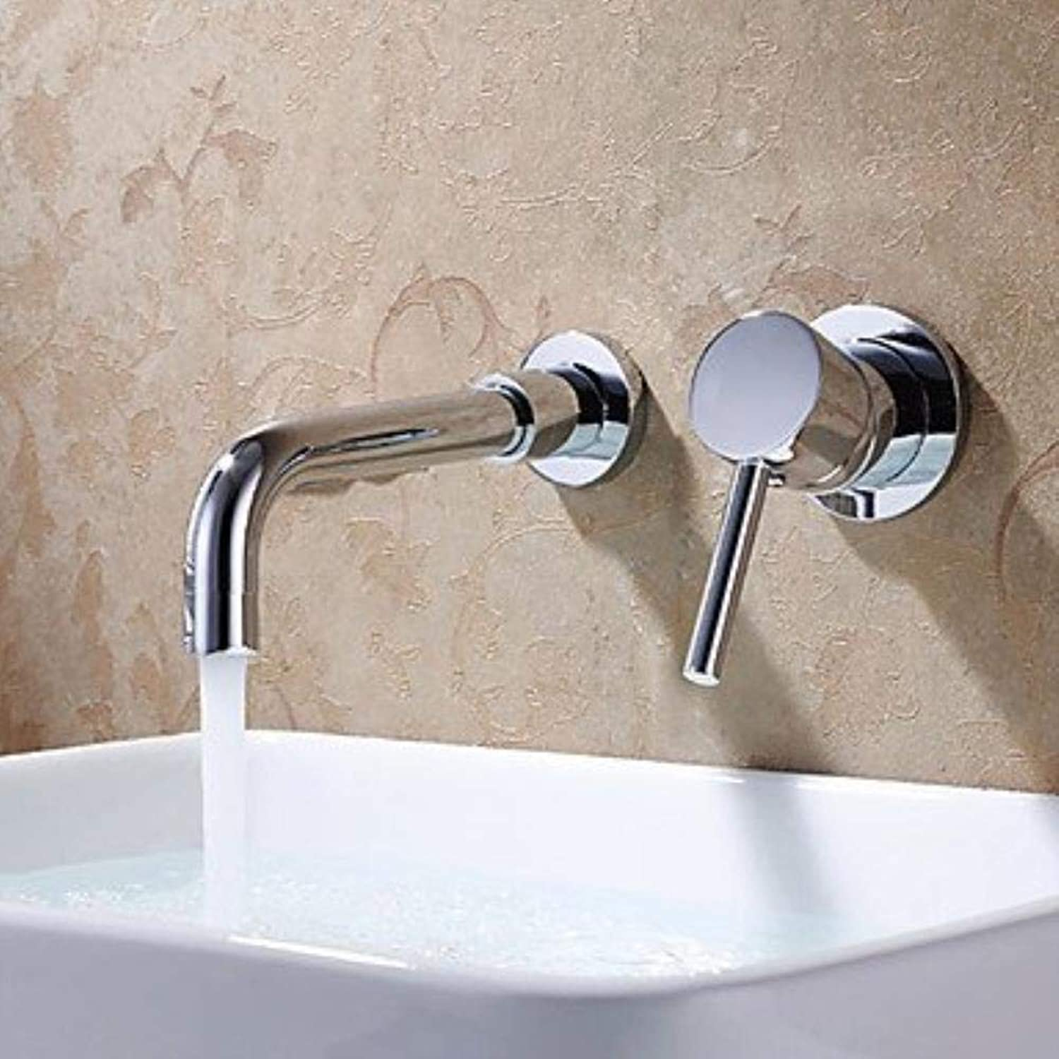 Contemporary Wall Mounted Widespread withCeramic Valve Two Holes Single Handle Two Holes forChrome, Bathroom Sink Faucet