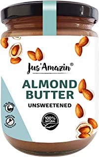 Jus Amazin Creamy Almond Butter - Unsweetened (500g) | 25% Protein | Plant-Based Nutrition | 100% Almonds | Zero Additives...