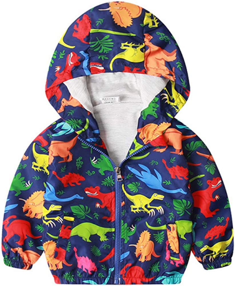 Little Boy Zipper Hooded Jacket,Cool Cartoon Dinosaur Print Long Sleeve Windproof Casual Outerwear