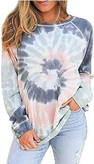 Glanzition Women's Long Sleeve Camo Crewneck Sweatshirt Casual Tops