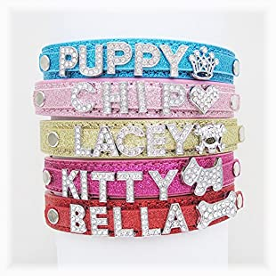 Personalised Dog or Cat Diamanté Fashion Collar - BLING PU Leather(Bling Pink,S)