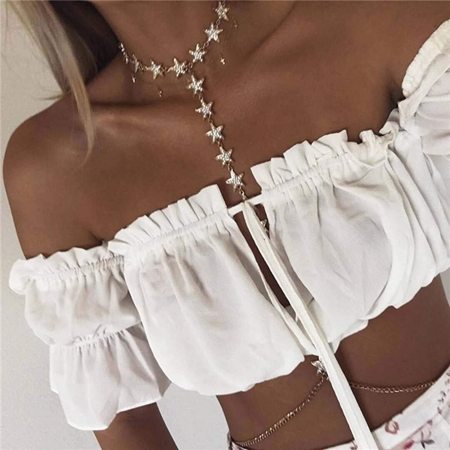 Kakaco Boho Body Chains Gold Star Choker Necklace Chain Crystal Chest Chain Bikini Belly Chain Sexy Body Jewelry for Women and Girls