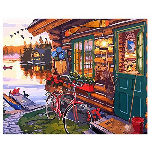 zglizty Pintar por Numeros Adultos Niños Vista De Cabina DIY Pintura por Números con Pinceles Y Pinturas Decoración De Navidad Decoraciones Regalos-40 Cm X 50 Cm(Sin Marco)