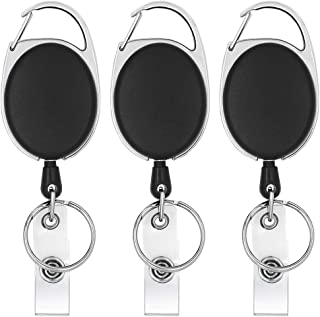 Retractable Badge Reel and Key Chain Ring with Durable Carabiner Belt Clip for ID Card Holder Keychain Black 3 Pack by vialavida