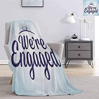Luoiaax Engagement Party Flannel Fleece Throw Blanket We are Engaged Announcement Quote Wedding Ring Celebration All Season Premium Fluffy Blanket W60 x L80 Inch Sky Blue and Navy Blue