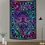 MERCHR Seven Chakra Yoga Meditation Bohemian Mandala Hippie Tapestry, Sun Moon Star Tie Dye Purple Small Wall Hanging for Bedroom, Boho Poster Beach Blanket College Dorm Home Decor 60X40 Inches