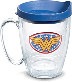 Tervis 1083999 DC Comics - Wonder Woman Insulated Tumbler with Emblem and Blue Lid, 16oz Mug, Clear