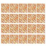 joyMerit 20 Piezas Autoadhesivas Azulejos Adhesivos para Baño Cocina Salpicadero Decoración 20x20 Cm Impermeable Extraíble Etiqueta De La Pared Calcomanías - Naranja