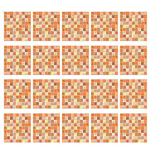 F Fityle 20 Unids Azulejos Pegatinas 20x20 Cm Cocina Backsplash Baño Vinilo Impermeable Pelar Y Pegar Mosaico Patrón Decoración Calcomanías - Naranja