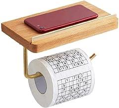 XYZMDJ Houten Toiletpapierhouder-Toiletpapierhouder,Stijl Roll Tissue Houder, Badkameraccessoires Muurbevestiging Plank,Ma...