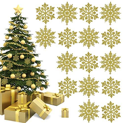 UMIPUBO Schneeflocken Weihnachten Deko 12-24 Stück 10cm Glitter Schneeflocken Weihnachtlicher Baumschmuck Silberne, Weiße, Goldene Schneeflocken