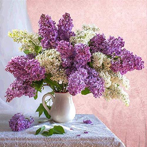 Super facile à faire | 5D bricolage diamant broderie fleurs violettes décor à la maison diamant rond peinture mosaïque photo pâtes photo carré 40x40 cm