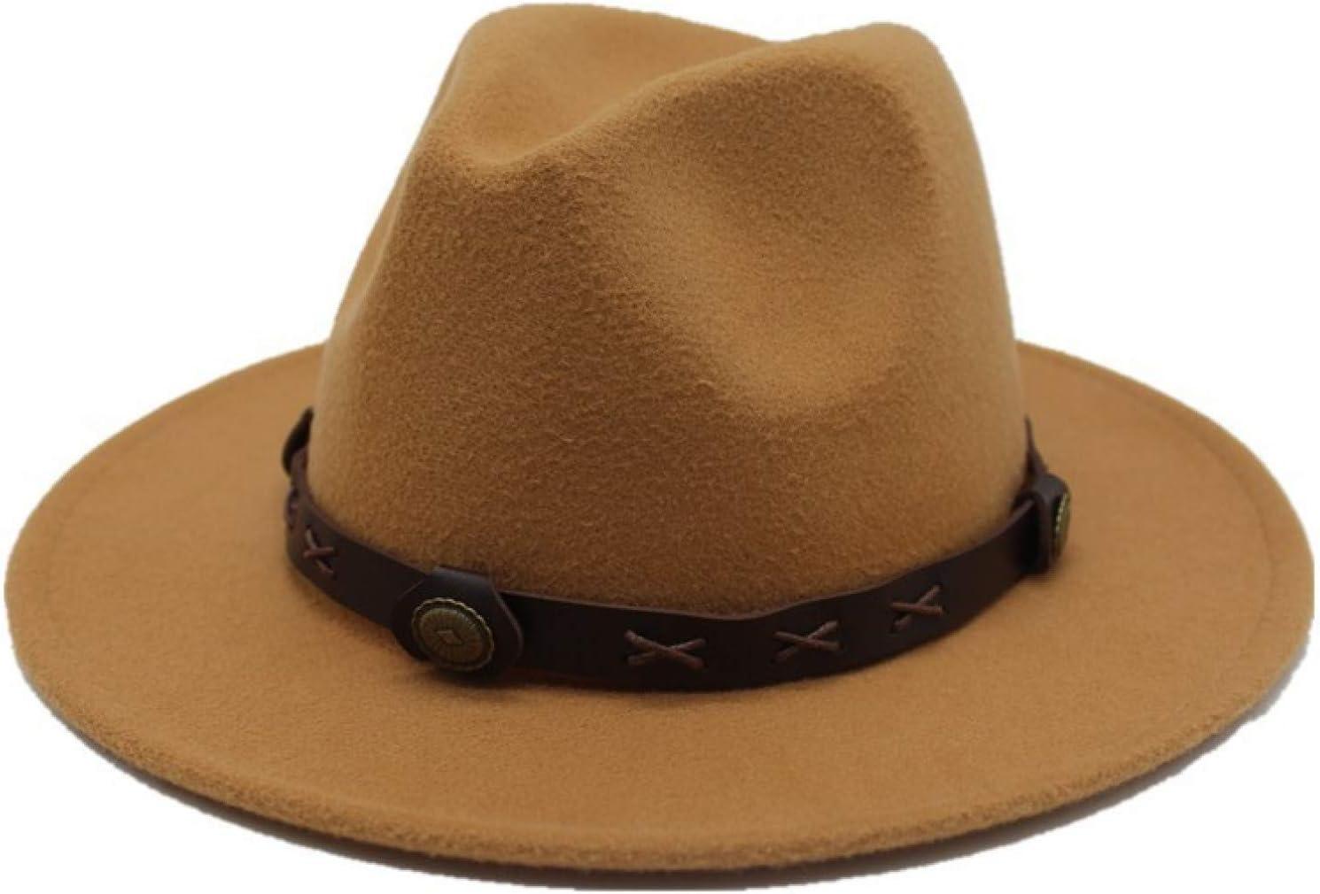 BAJIE Fedora Unisex Pure Wool Wide Brim Spring And Summer Felt Fedora Hat Ladies Headscarf Female Hat Top Hat Valentine Gift