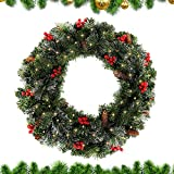60CM Christmas Garland Decorations , Pre-Lit Decorated Garland with Lights Red Berry Decorations Rattan Artificial Wreath for Xmas Festival Tree Display Indoor Outdoor Christmas Decor (50 LEDS)