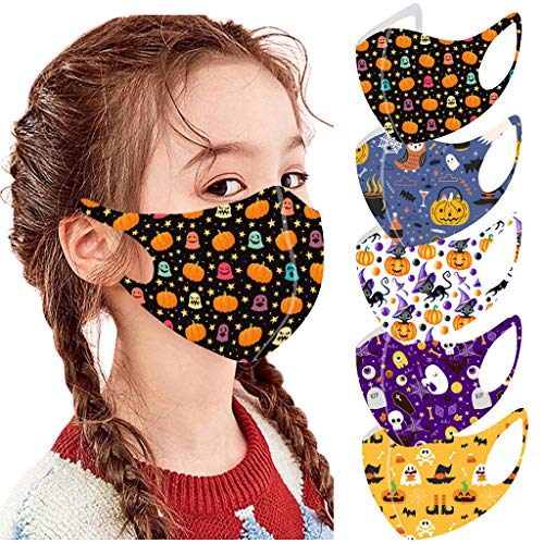 5PC Halloween Face_Masks for Kids Reusable Face Bandanas Balaclava ,Boys Girls Cute Cartoon Print Mouth Covering Breathable Cotton Washable Oral Protective for School Outdoor Sports Children