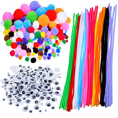 Pompons, Selbstklebend Wiggle Kulleraugen, Chenilledraht für Handwerk DIY Kunstbedarf, 450 Stück