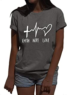 Women Faith Hope Love Christian T Shirts Cute Funny Letter Printed Short Sleeve Shirts Tops