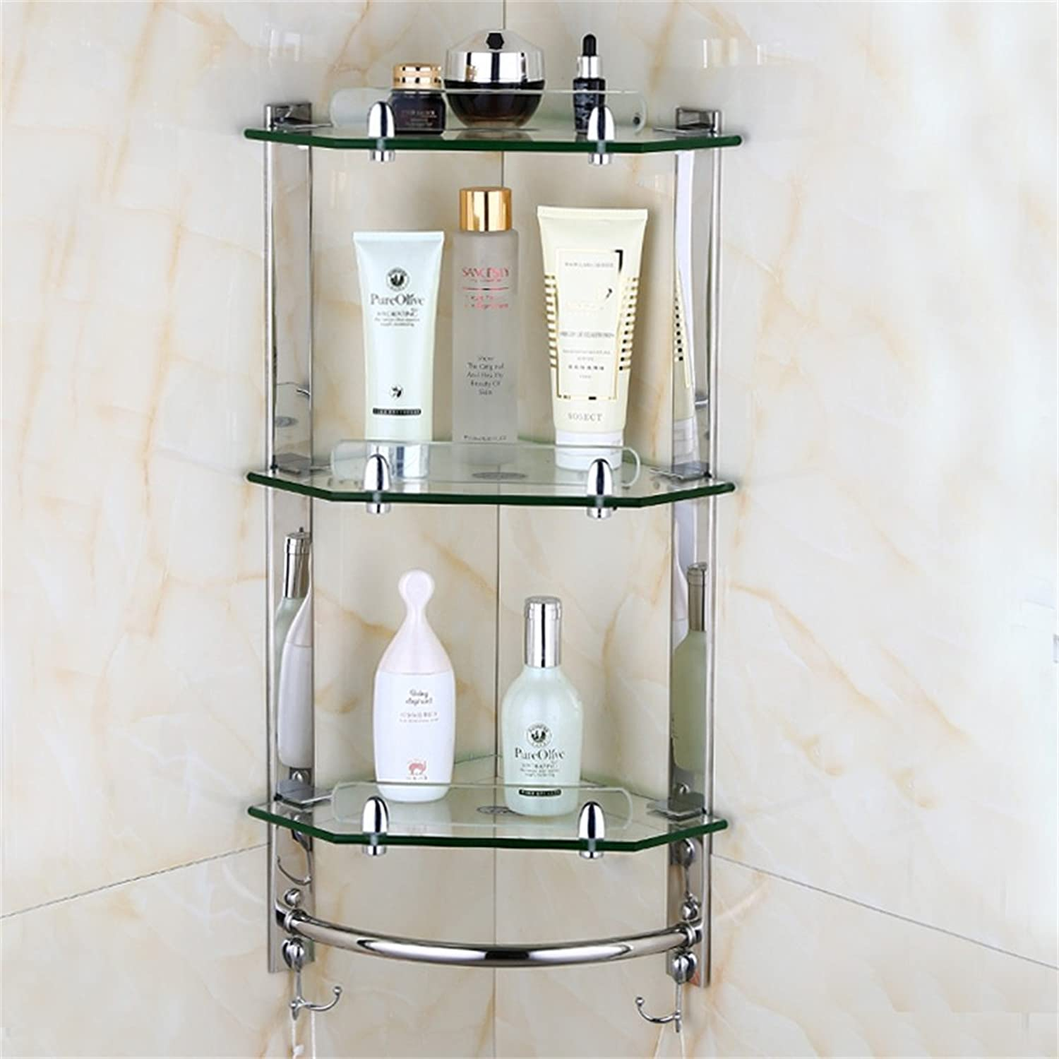 Cpp Shelf European Style Bathroom Shelf Glass Wall Hanging Storage Rack Stainless Steel Wall Tripod Bathroom Corner Stand