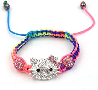 25219b80a Sweet Multi Color Macrame Bead Hello Kitty Charm Bracelet - Fashion Jewelry  for Girls Macrame