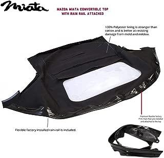 AutoBerry Compatible with Mazda Miata Convertible Top with Plastic Window& Attached (Pre-Installed) Rain Rail, 1990-2005 (Black)