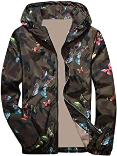 Sunward Coat for Men,Mens Autumn Winter Camouflage Print Pullover Long Sleeve Hooded Tops Blouse