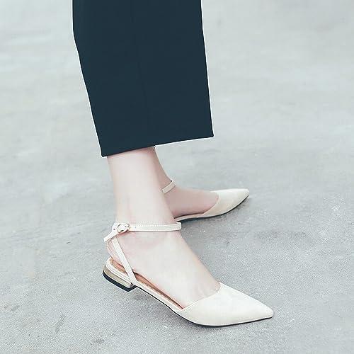DHG Baotou Sauvage Pointu Rétro Chaussures de Fée Rouge Net,Abricot,40