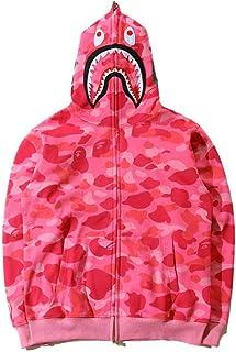 Shark Jaw Camo Full Zipper Hoodie Men's Woman Sweats Coat Jacket Thicken