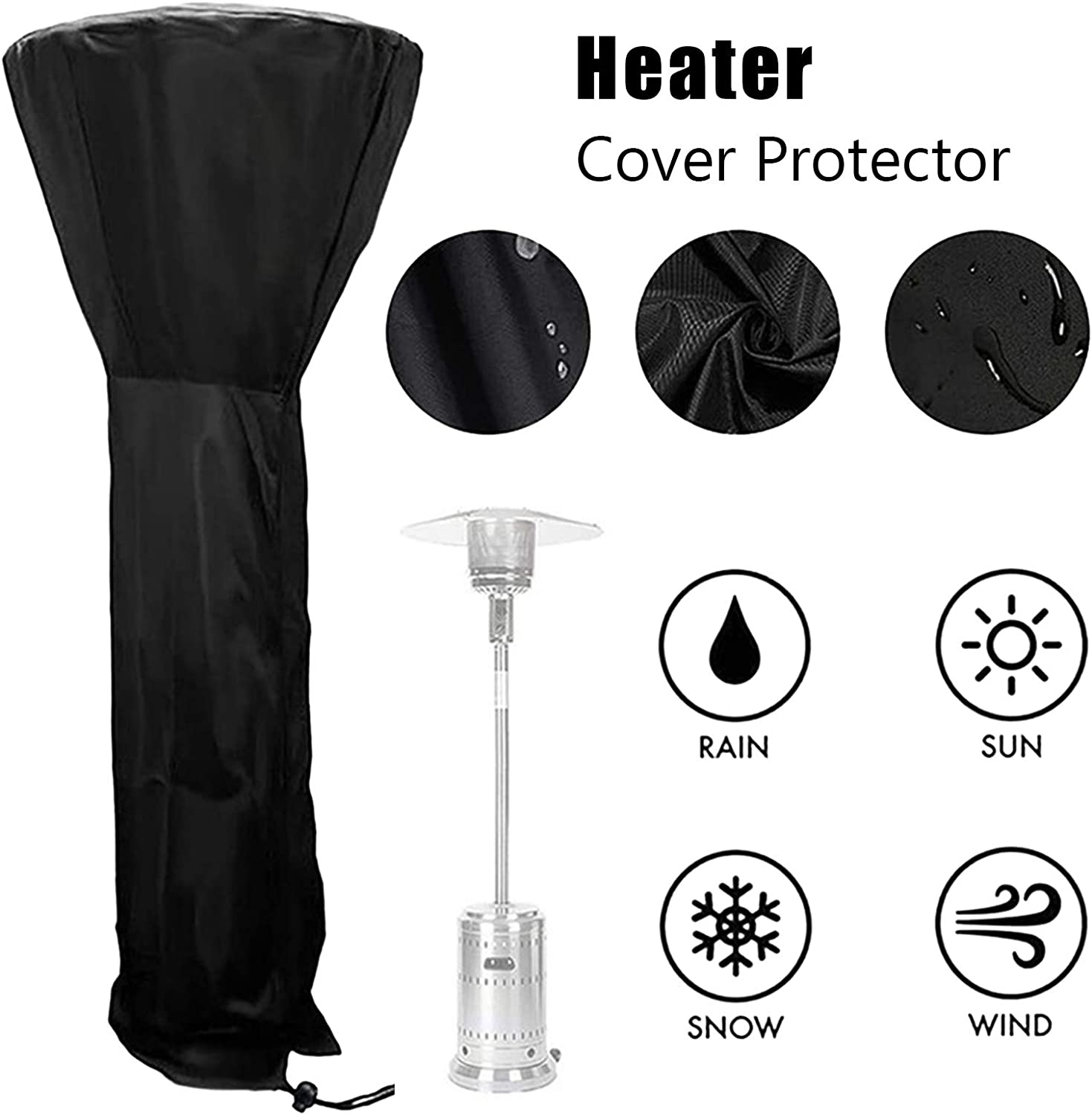 Patio Heater Covers Black 420D Oxford Fabric Waterproof with Zipper Outdoor Heater Protection with Storage Bag