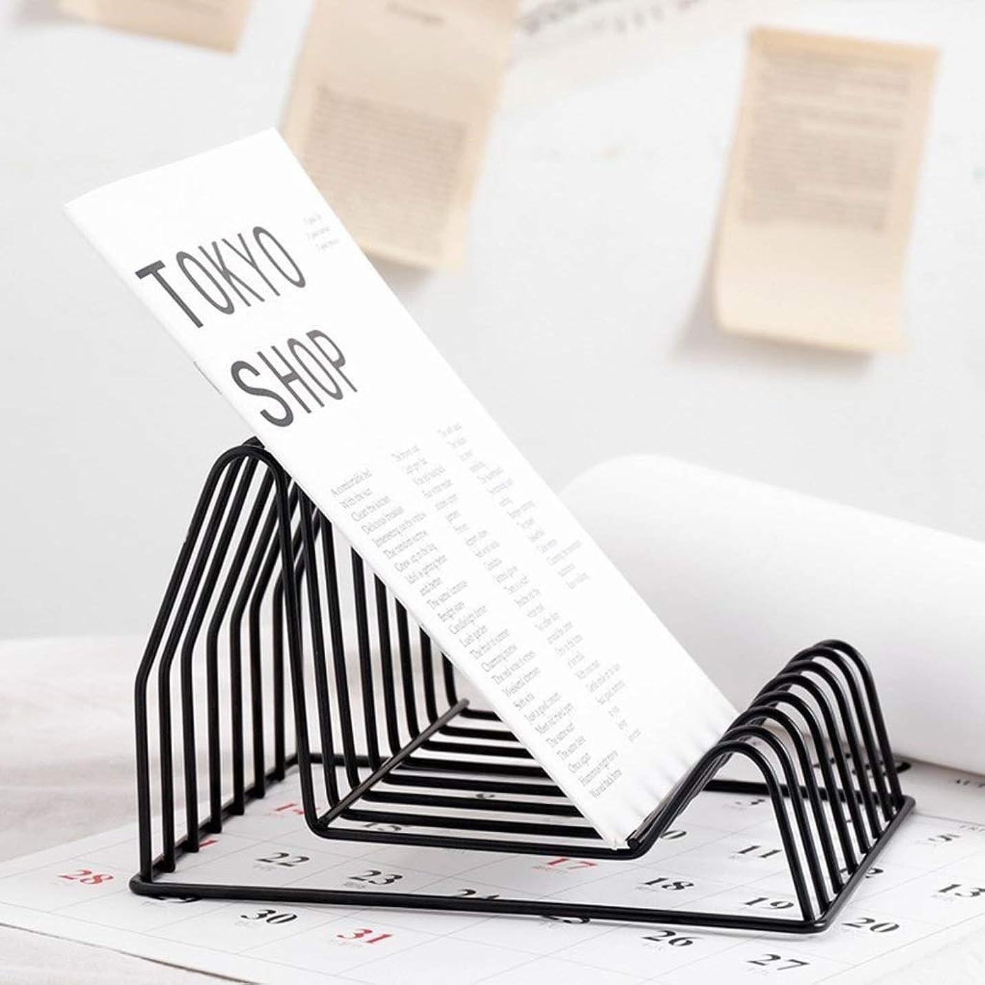 かける切手愛情深い北欧スタイル鍛造アイアントライアングルラックホームデスクトップマガジンラックブック新聞収納クリエイティブマガジンラック (色 : B)