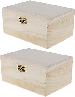 FITYLE 2pcs Plain Wooden Treasure Chest Wood Jewellery Storage DIY Making Craft Box