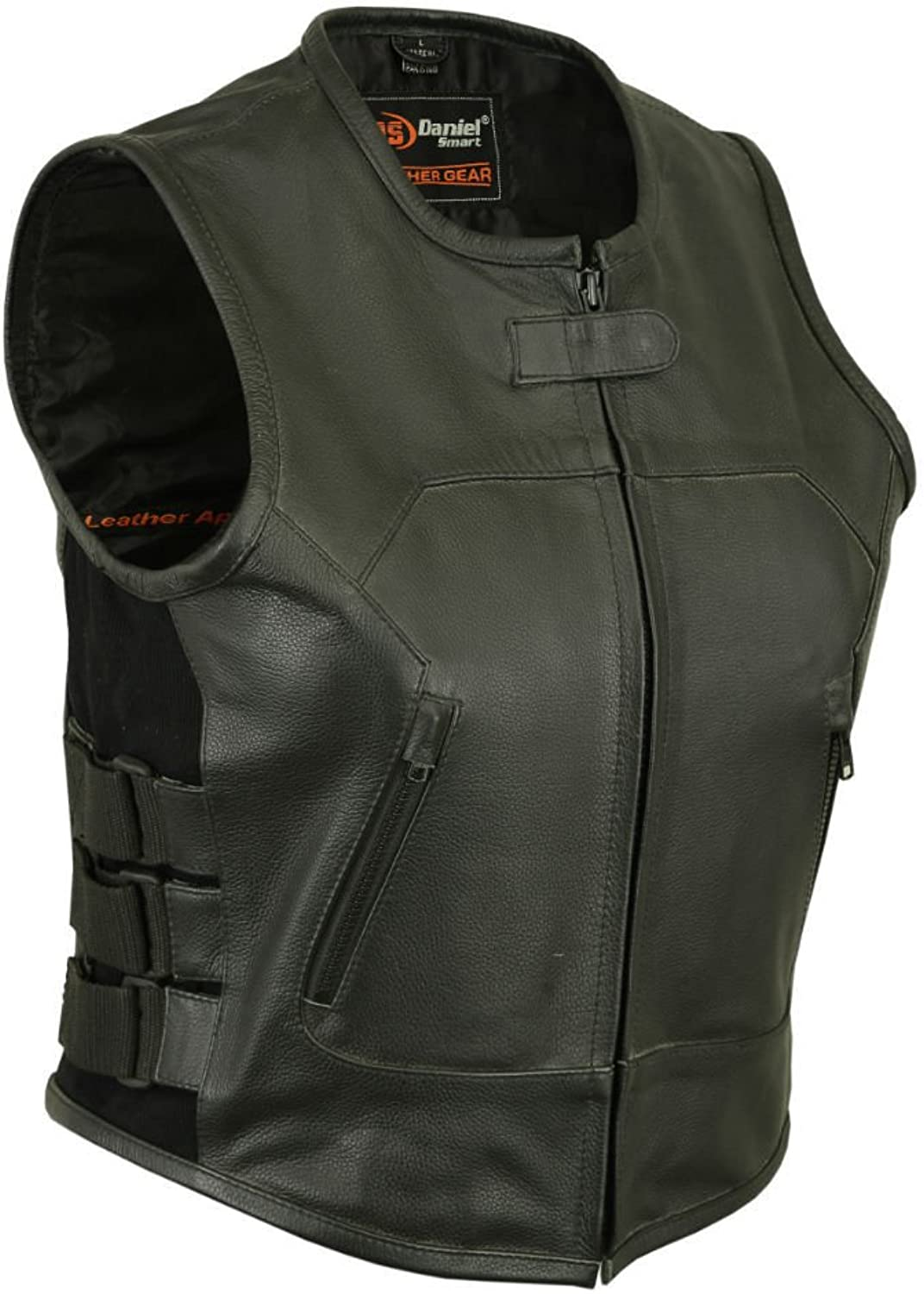 Daniel Smart Motorcycle Ladies blk SWAT Team Style Premium Thick Leather Gun Pocket Vest Blk