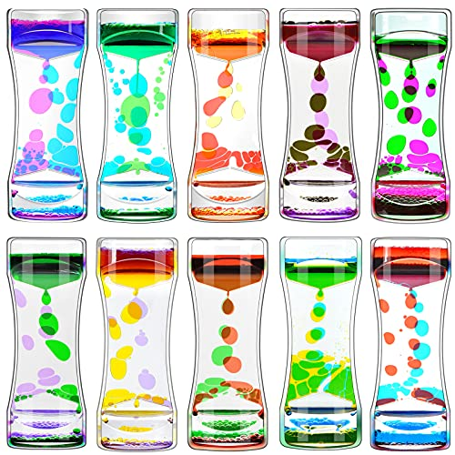 FKYTION Liquid Motion Bubbler Timer Pack of 10 Great Desktop Colorful Hourglass Liquid Bubbler Small...