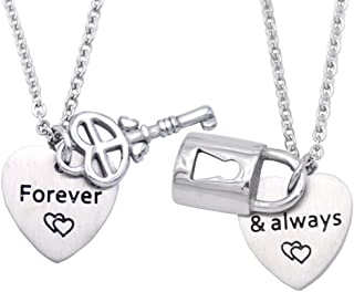 Melix Home Couples Necklace Set for Boyfriend and Girlfriend Lock and Key Heart Necklace for Couples