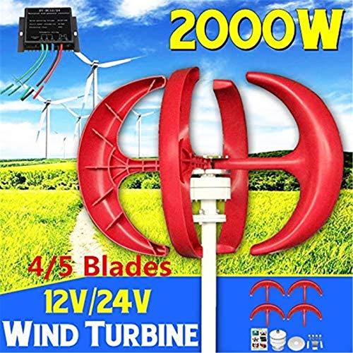 Turbina de Viento, Aerogeneradores, 5 Palas 2000W Viento generador de turbinas + Controlador 12V24V Linterna Vertical axises por residenciales de los hogares Farola Uso,Kit (Color : 24V)