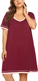 IN'VOLAND Women Plus Size Nightgown Loungewear Short Sleeve V Neck Nightshirt Cotton Knit Nightie Sleepwear(16W-24W)