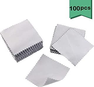 Nexxxi 100 Pieces Jewelry Cleaning Cloth, Polishing Cloths for Sterling Silver Gold Platinum(3.2