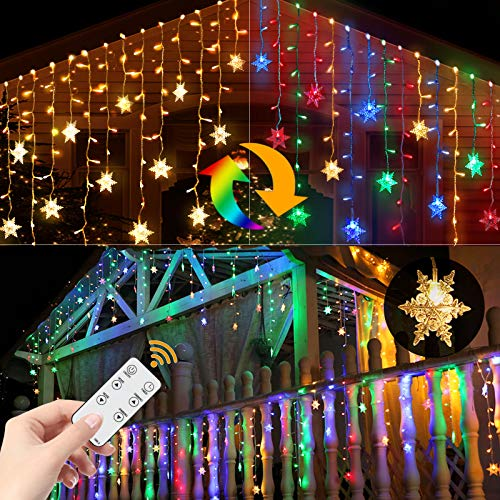 Led Snowflake Icicle Lights Christmas Lights Outdoor Color Changing Window Curtain String Fairy Light for Indoor House Window Home Wall Patio Yard Garden Porch Holiday Waterproof 360 Led 40ft 8 Modes