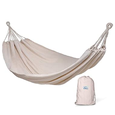 Hammock Sky Brazilian Double Hammock - Two Person Bed for Backyard, Porch, Outdoor and Indoor Use - Soft Woven Cotton Fabric (Natural)
