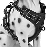 PoyPet No Pull Dog Harness, Reflective Vest Harness with 2 Leash Attachments and Easy Control Handle(Black, Small)