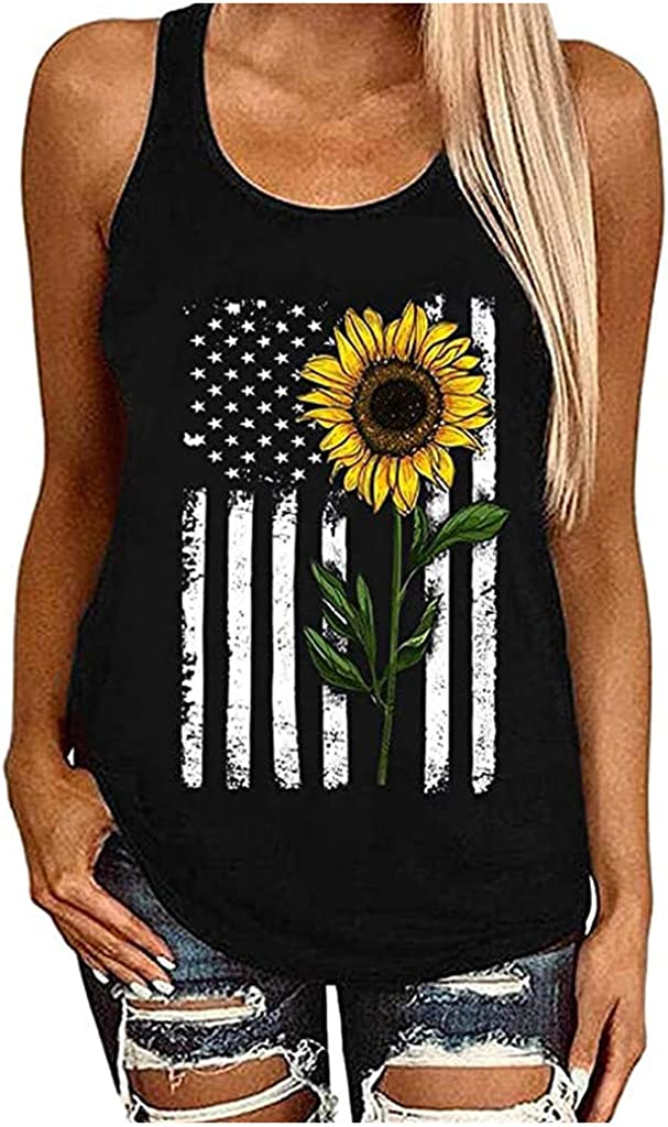 Masbird Women Tank Top, Womens Casual Sleeveless Casual Sunflower Printed Tops T Shirts Loose Fit Tops Blouse Vest Camisoles